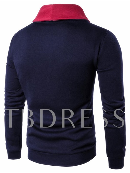 Kangaroo Pocket Solid Color Plain Slim Fit Casual Men's Sweatshirt
