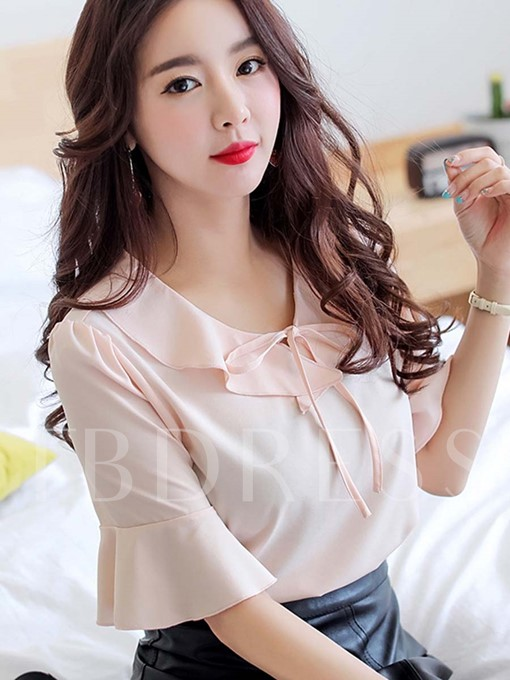Plain Bell Sleeve Sweet Women's Blouse