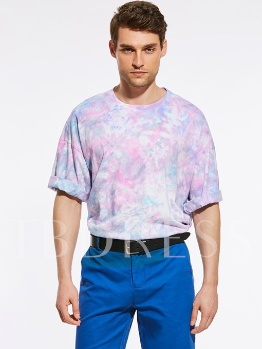 Colorful Print Loose Men's Vogue T-Shirt