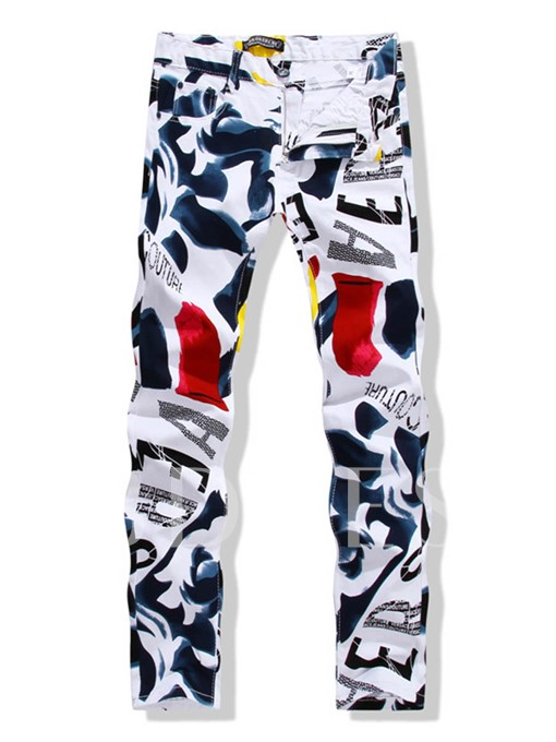 Printing Pattern Color Block Straight Men's Casual White Jeans