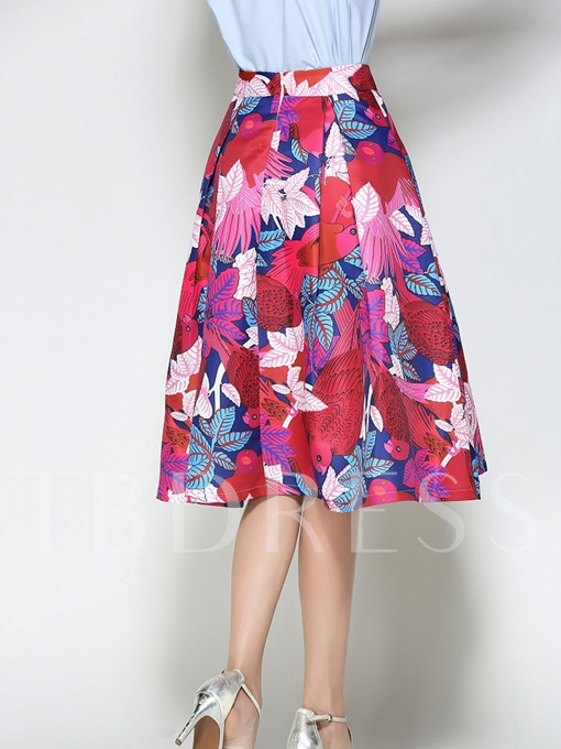 High Waist Pleated Printing Expansion Women's Skirt