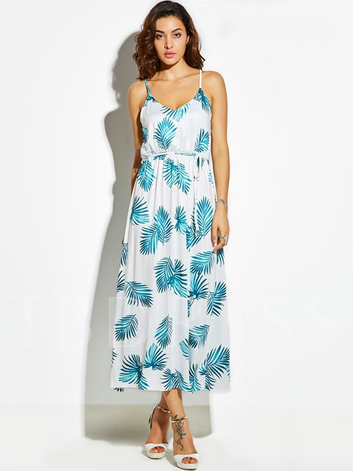 Spaghetti Strap Vacation Plant Print Women's Maxi Dress