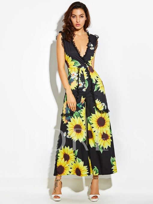 Sunflower Print Wide Legs Women's Vacation Jumpsuits
