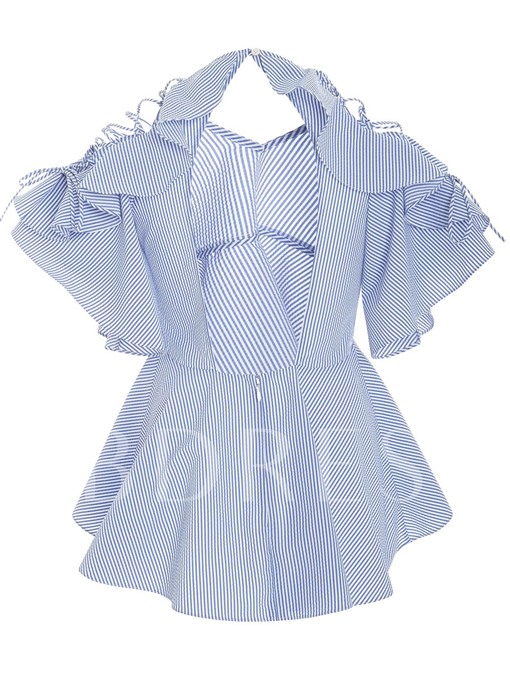 Stripe Ruffled Sleeve Peplum Women's Blouse