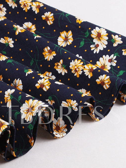 Floral Square Neck Women's Day Dress