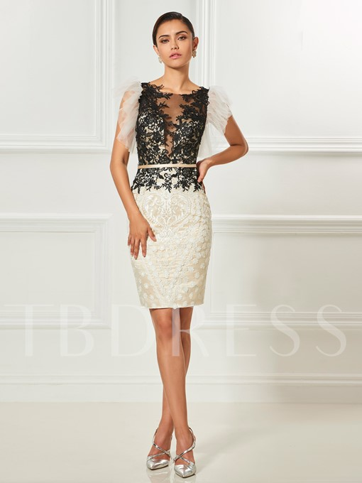 Column Appliques Sashes Button Scoop Knee-Length Cocktail Dress
