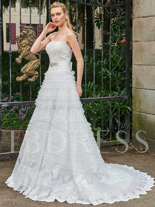 Strapless Tiered Beading Appliques Wedding Dress