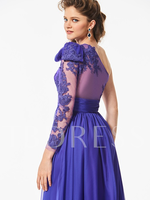 Long Sleeves One-Shoulder Appliques A-Line Bowknot Sashes Prom Dress