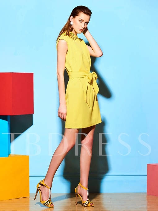 Yellow Sequins Decorated Women's Day Dress