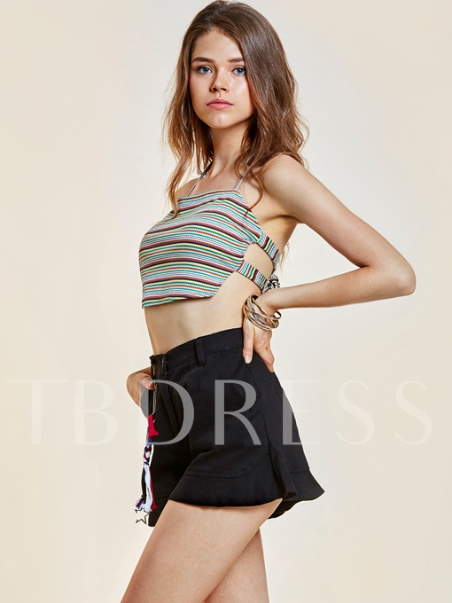 Loose Falbala Patchwork Plain Women's Shorts