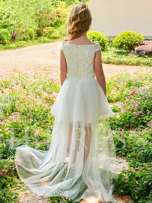 Off-The-Shoulder Lace Short Flower Girl Dress
