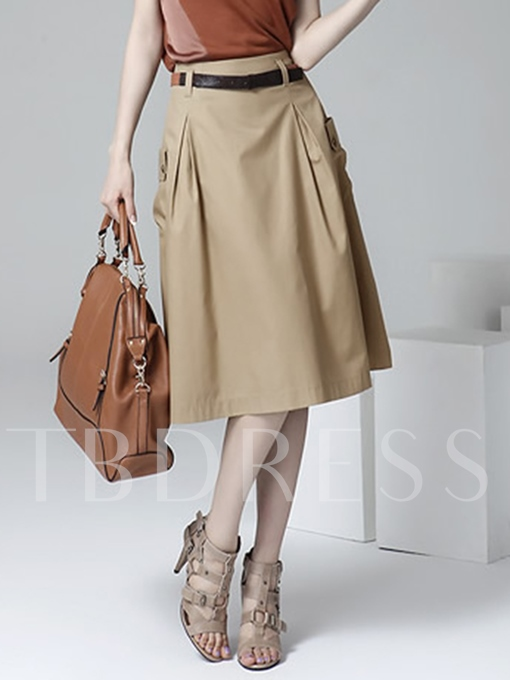 Plain Pleated Pocket Knee-Length Women's Skirt