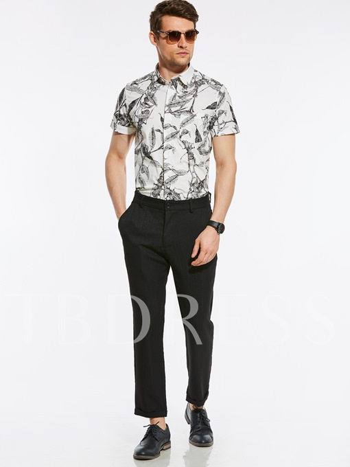 Slim Fit Leaf Print Vogue Men's T-Shirt