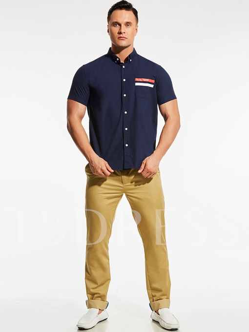 Plus-Size Solid Color Men's Short Sleeve Shirt with Pocket