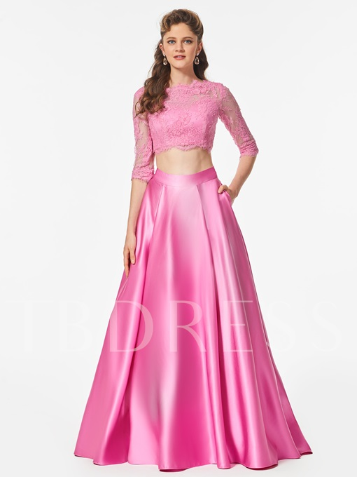 Button Lace Scalloped-Edge Floor-Length Prom Dress