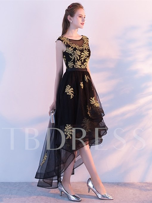 Appliques Embroidery Scoop Asymmetry Homecoming Dress