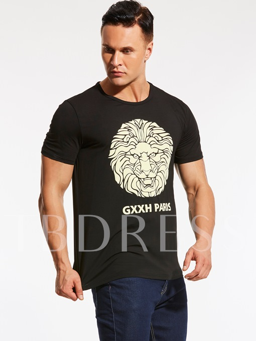 Plus-Size Animal Printed Loose Men's Casual T-Shirt
