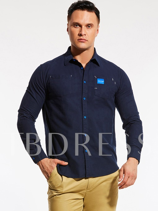 Plus-Size Single-Breasted Loose Men's Shirt with Chest Pockets