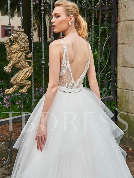 V-Neck Straps Lace Ball Gown Wedding Dress