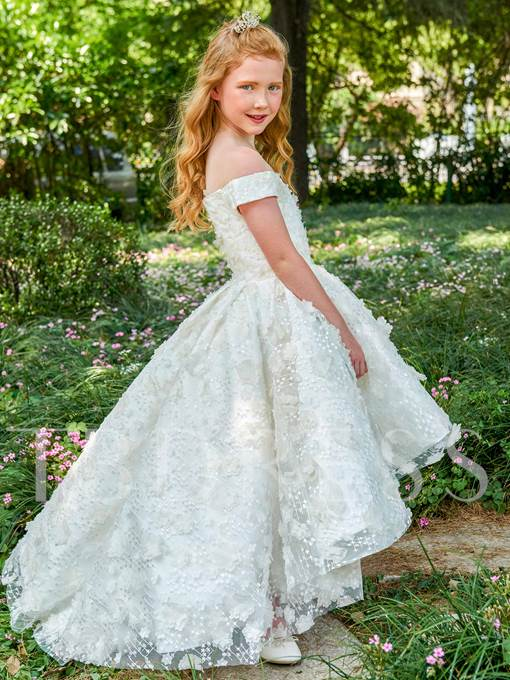 Lace Off-The-Shoulder Ball Gown Flower Girl Dress