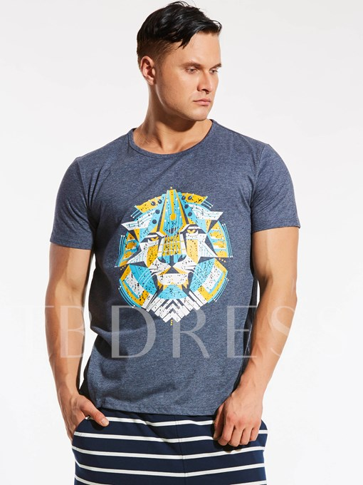 Round Neck Plus-Size Cotton Loose Men's T-Shirt with Animal Printed