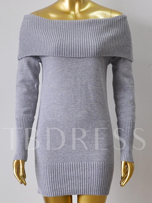 Plain off Shoulder Long Sleeve Women's Sweater Dress