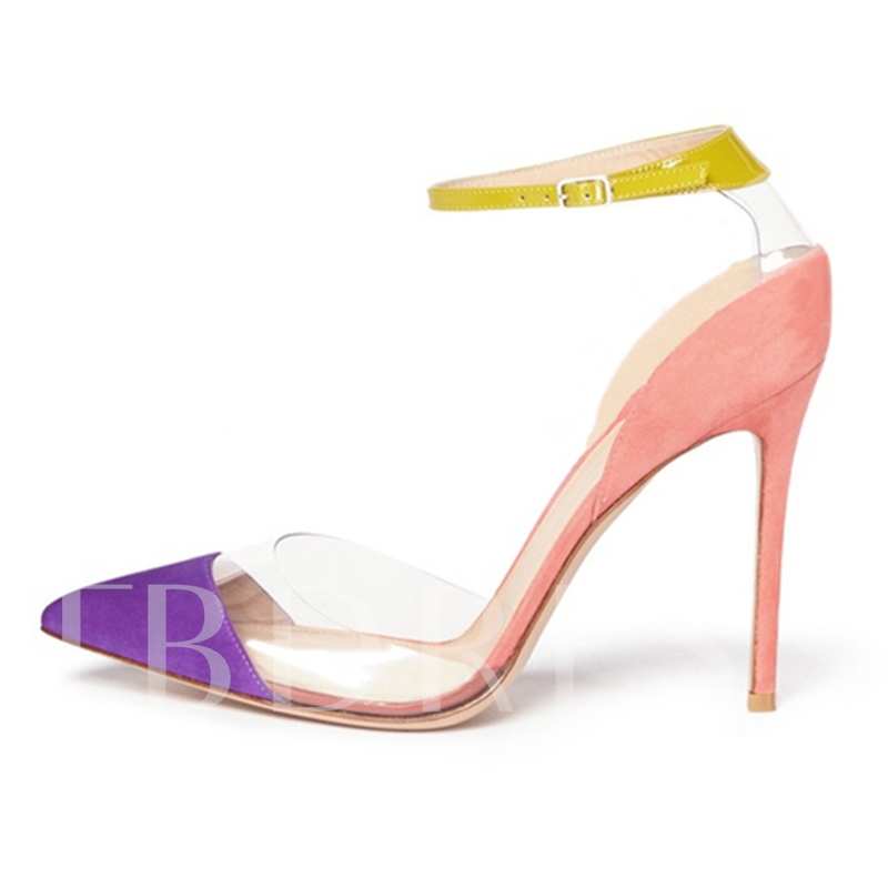 Color Block Patchwork Pointed Toe Stiletto Heel Women's Pumps