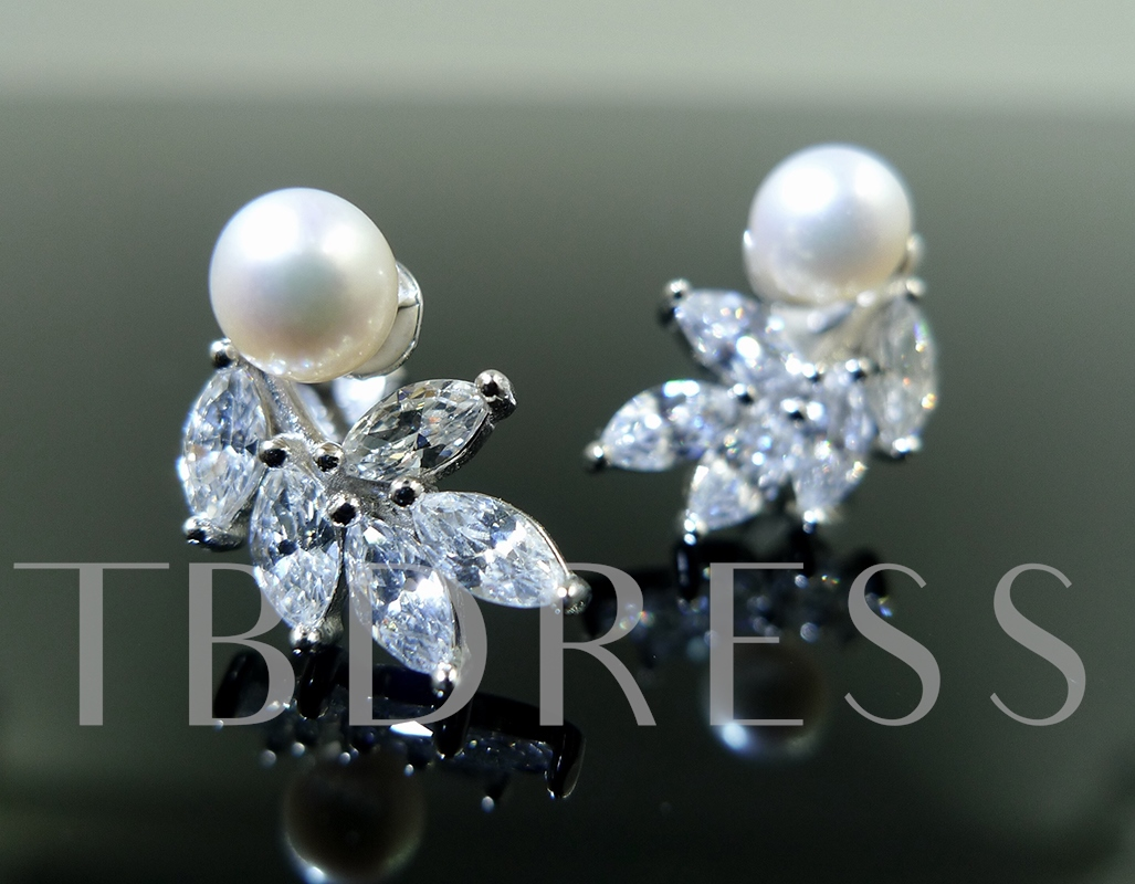 Pearl Zircon Inlaid S925 Round Brilliant Earrings