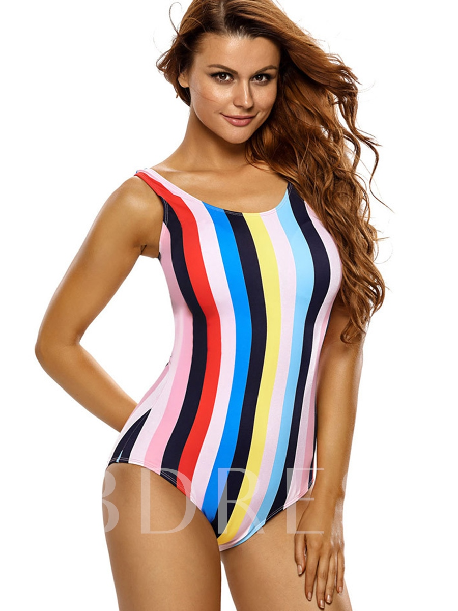 Colorful Stripe Backless One Piece Swimsuit (Plus Size Available)