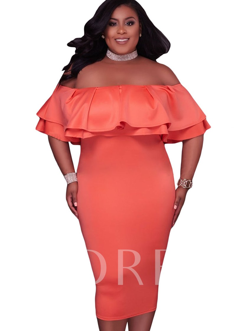 Plus Size Orange Slash Neck Women's Bodycon Dress