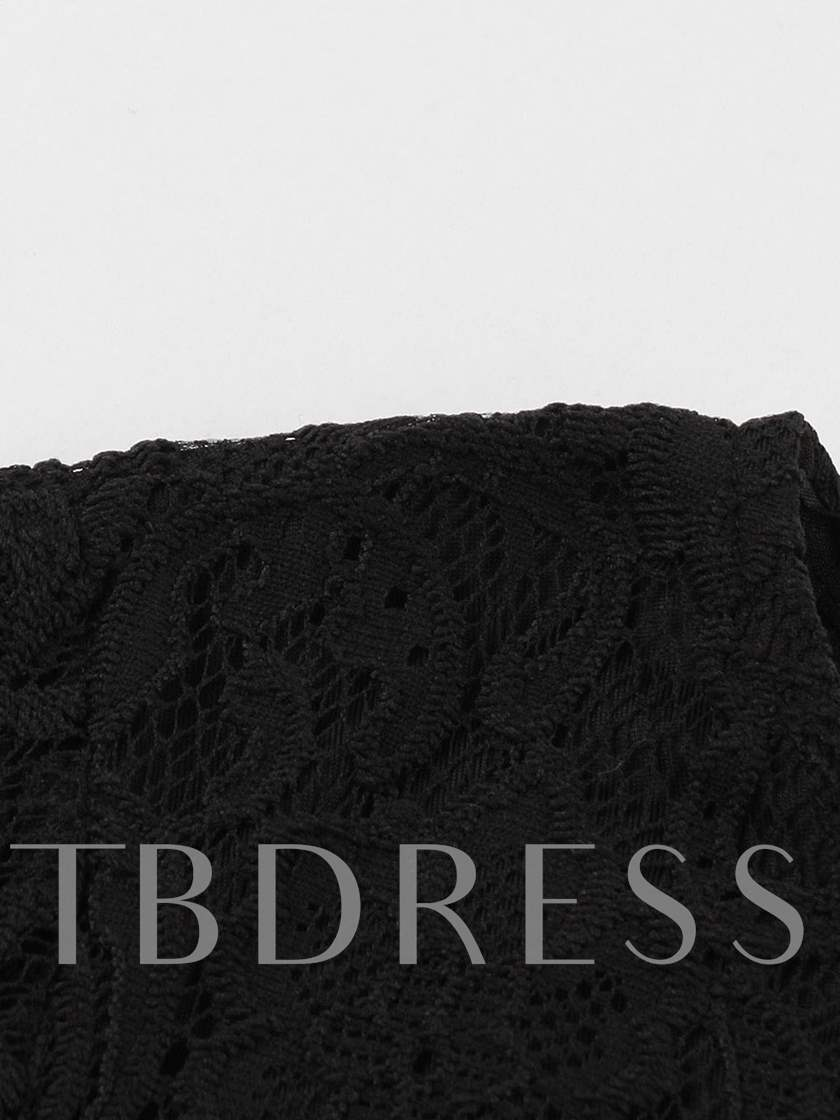 Black Lace Sleeve Women's Day Dress