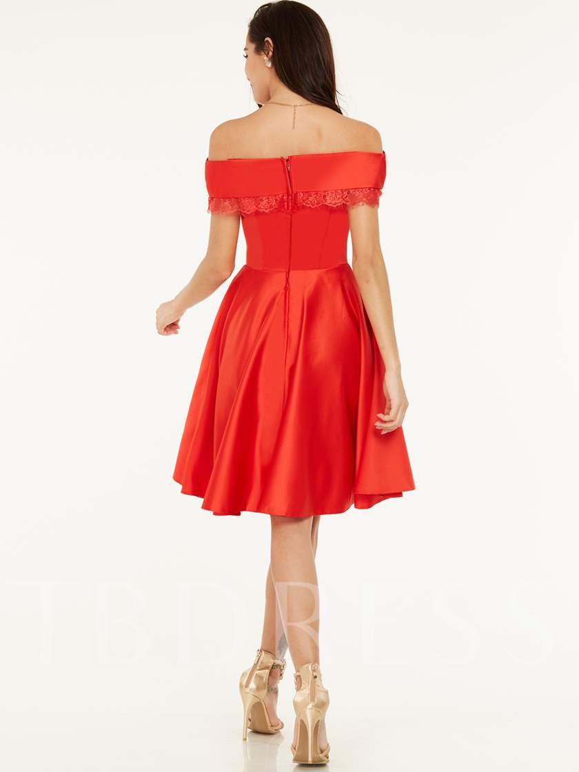 Off-the-Shoulder Zipper-Up A Line Homecoming Dress