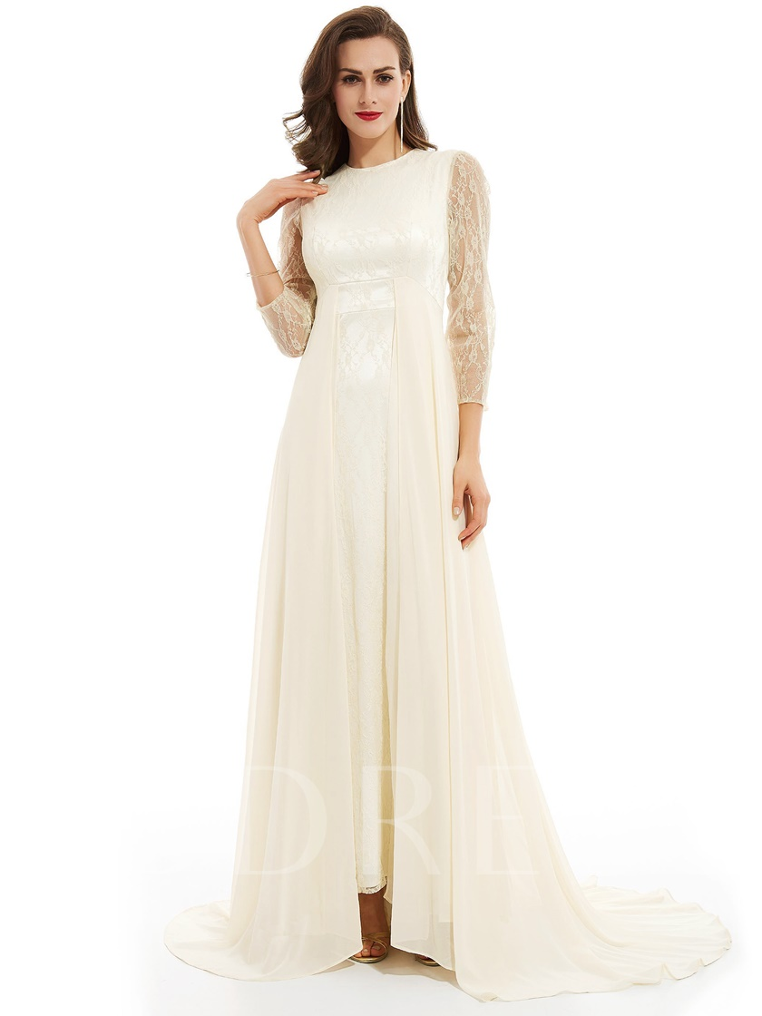 Scoop Neck Zipper-Up Long Sleeves Floor-Length Evening Dress