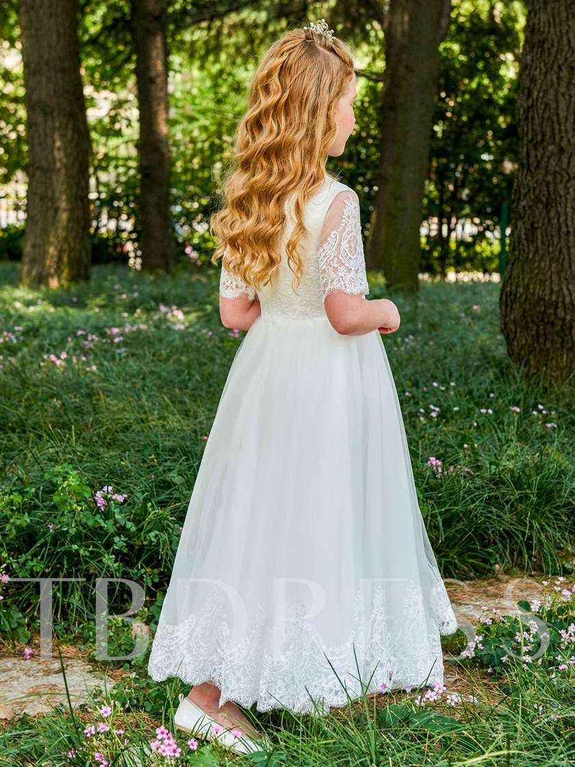 Jewel Neck Half Sleeves Appliques Flower Girl Dress