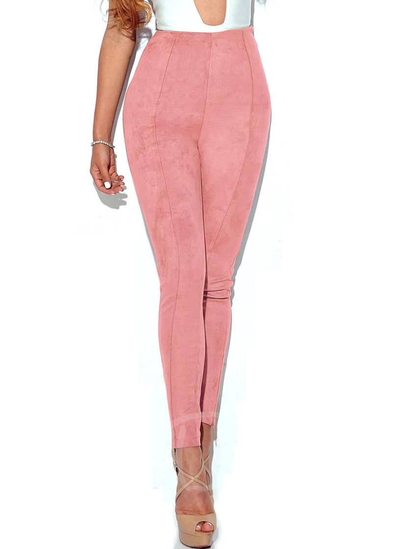 Plain Skinny Patchwork High-Waist Women's Pants