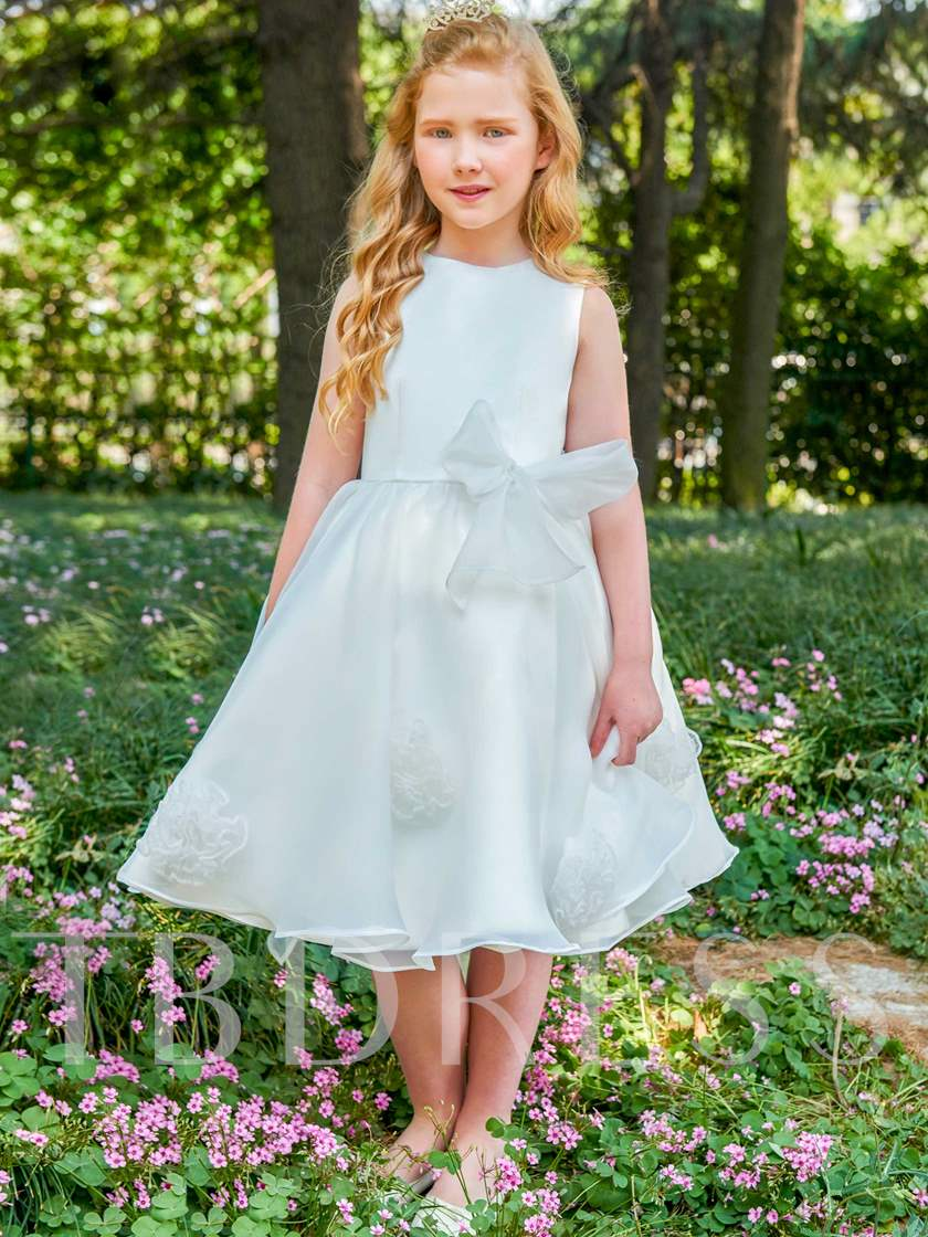 Scoop Neck Bowknot Knee-Length Flower Girl Dress