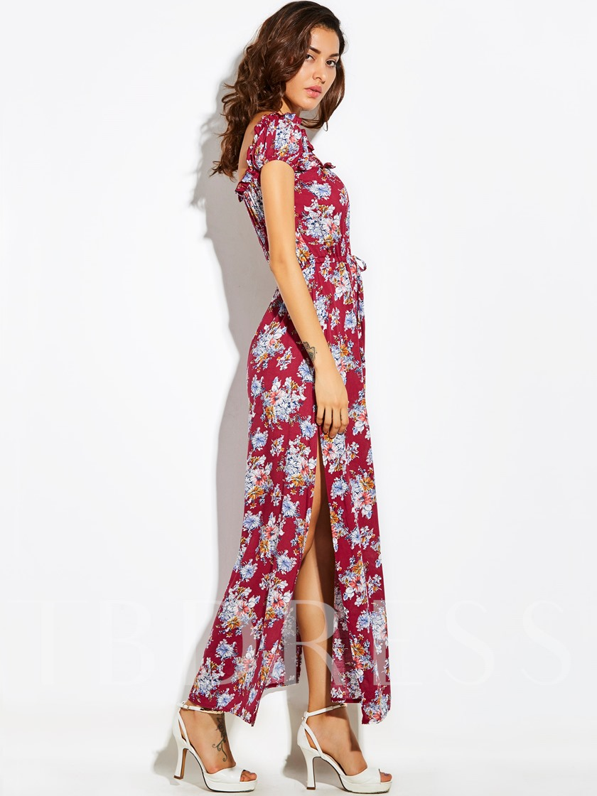 Vacation Drawstring Flower Print Backless Women's Maxi Dress