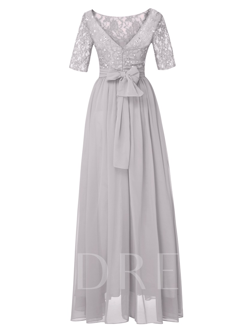 Scoop Half Sleeves Beaded A Line Evening Dress