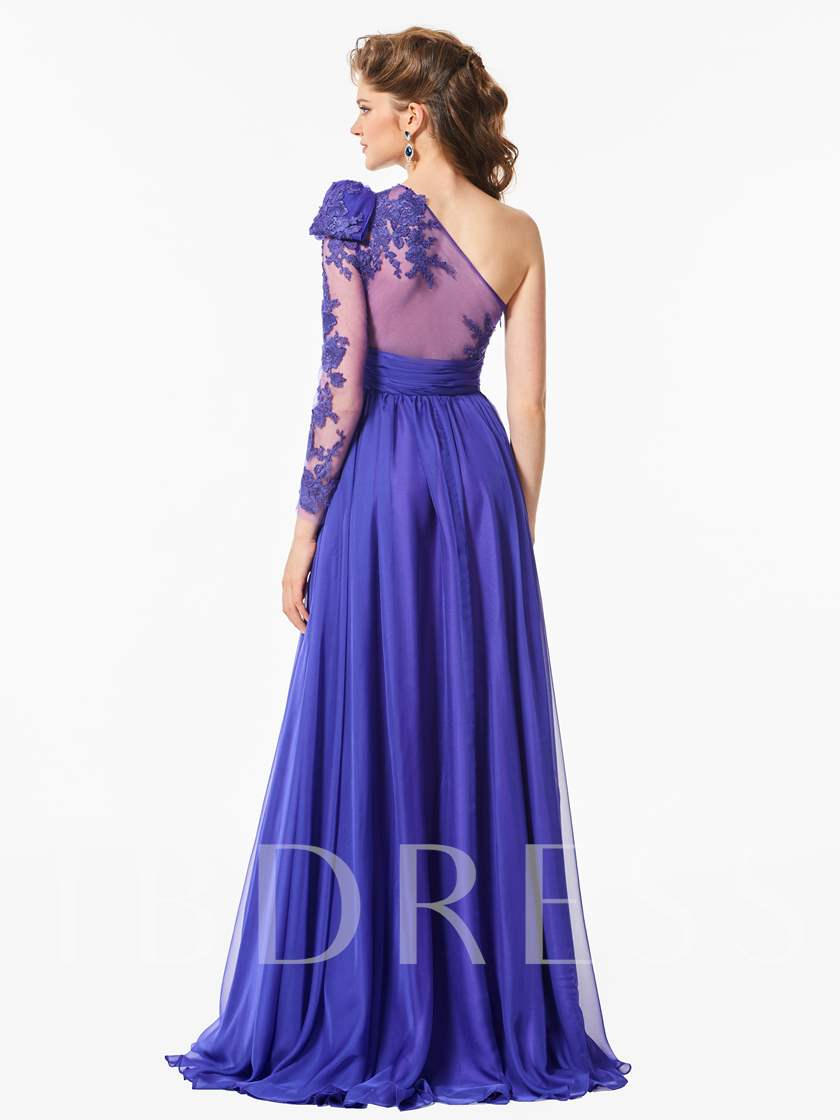 Long Sleeve One Shoulder Appliques Prom Dress