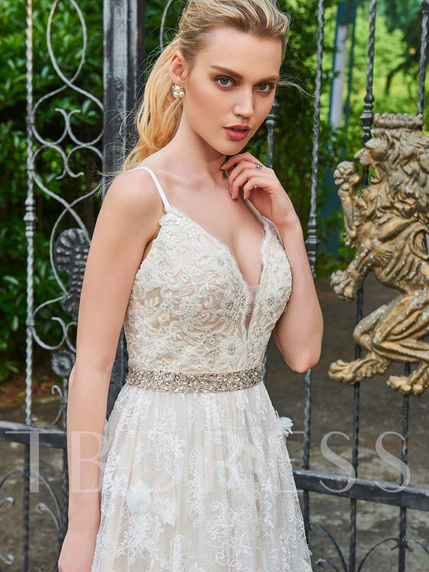 Spaghetti Straps Beading Lace Wedding Dress
