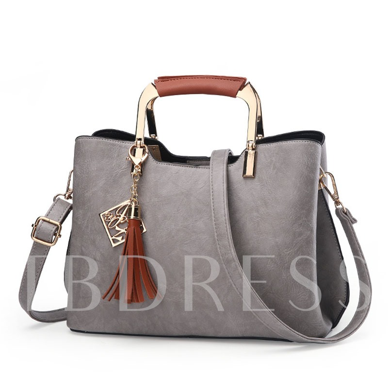 Delicate Tassel Pendant Metal Handle Tote Bag