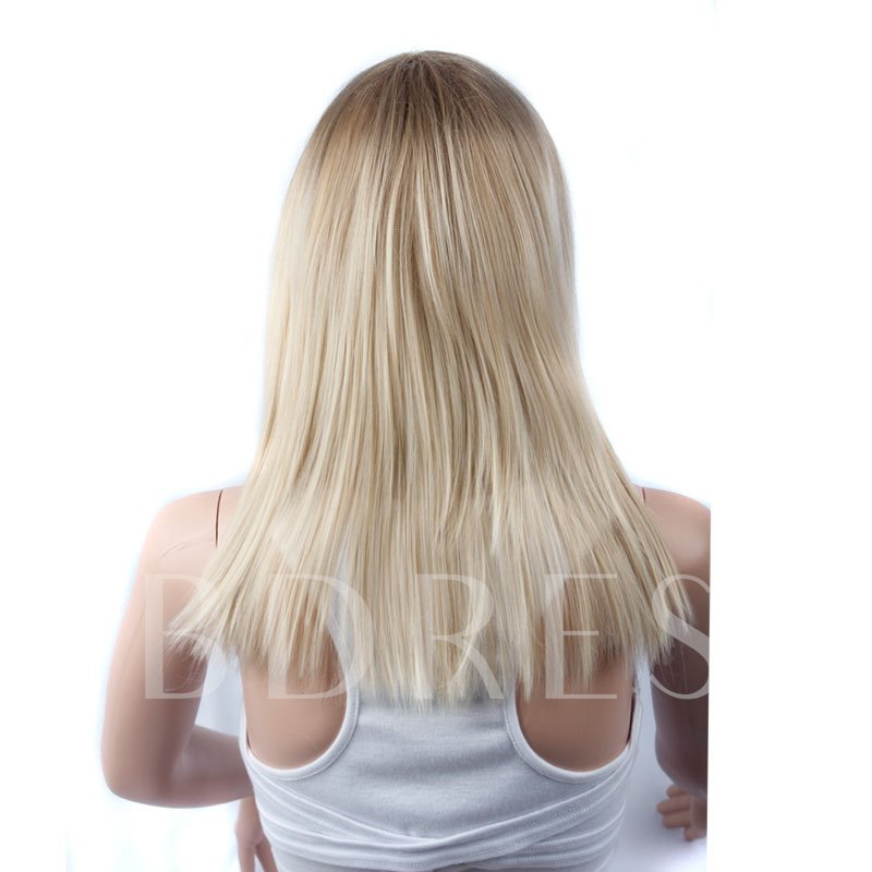 Mixed Color Blonde Straight Blunt Long Synthetic Hair Capless Wigs 20 Inches