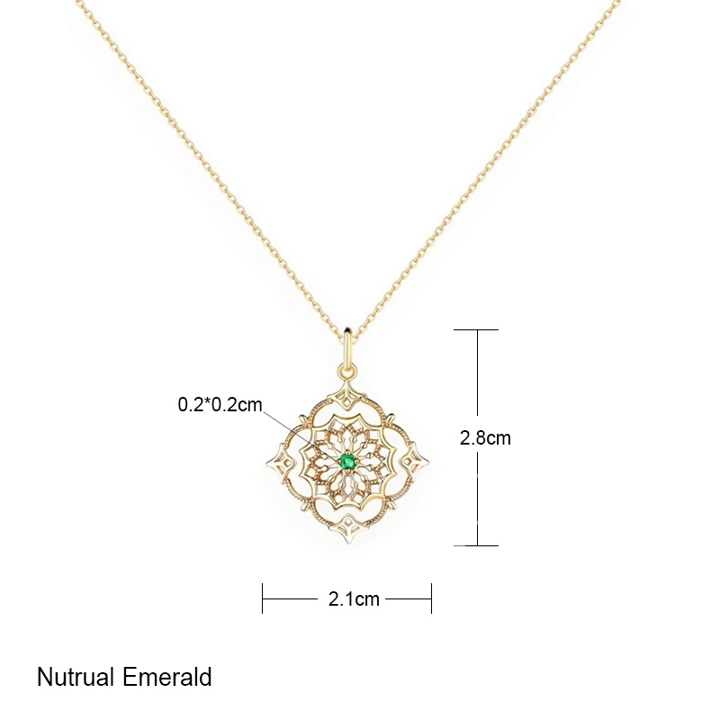 Emerald S925 Overgild Hollow Out Necklace