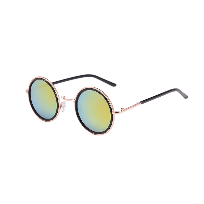 Reshin Round Gradient Color Overgild Alloy Sunglasses