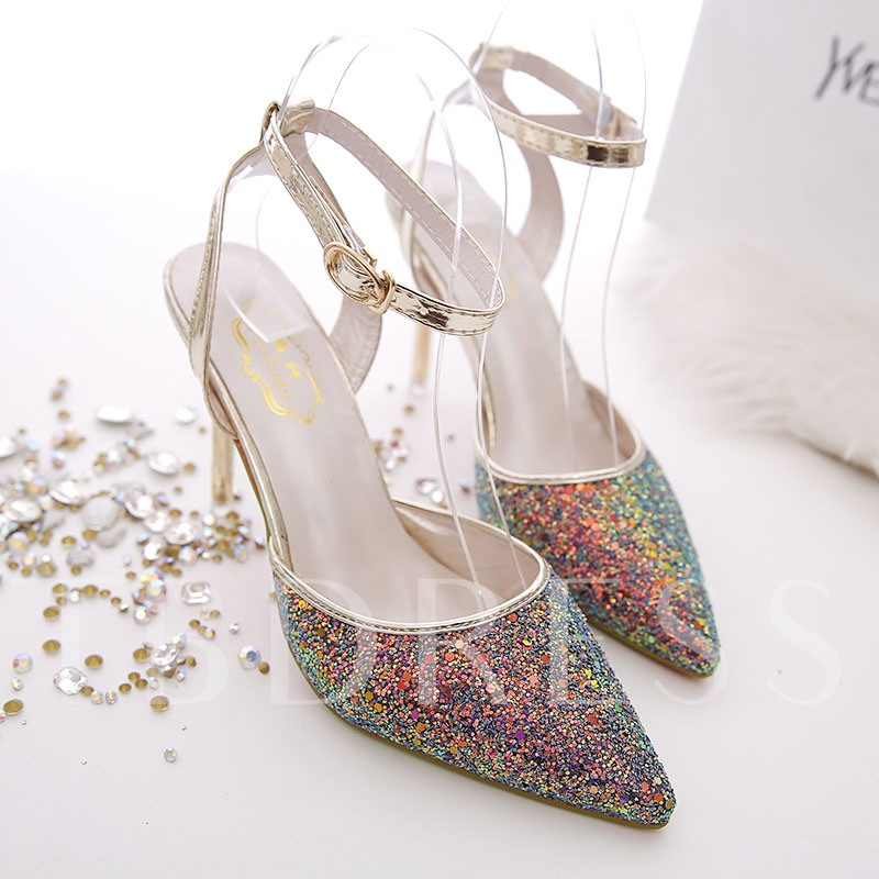 Sequins Pointed Toe Ankle Strap Banquet Stiletto Heel Women's Sandals