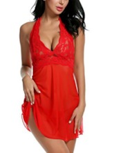 Plain See-Through Halter Nylon Nightgown Babydolls