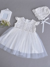 Ball Gown Lace Cap Sleeves Christening Dress