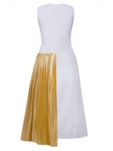 Sleeveless Color Block Pleated Women's Day Dress