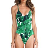 Green Leaves Printed Hollow-Up Women's One-Piece Swimsuit