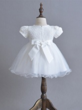 Round Neck Short Sleeves Two Piece Christening Gown